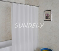 PLAIN WHITE FABRIC TEXTILE WEIGHTED EXTRA LONG SHOWER CURTAIN