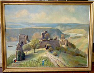"""LARGE RHINE RIVER GERMANY SIGNED ROOS OIL PAINTING LISTED ARTIST APPROX 24 X 30"""""""