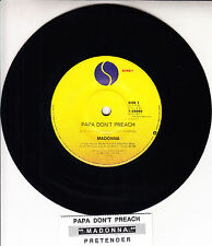 "MADONNA  Papa Don't Preach & Pretender  7"" 45 rpm record + juke box title strip"