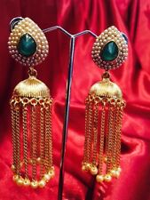 Bollywood Gimmiki Indian Designer Earrings Golden Pearls Green Gold Jhumka F22