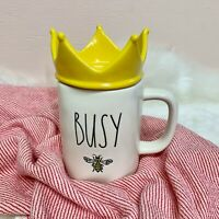 "New! Rae Dunn ""Busy Bee "" w/ Crown Topper Spring 2021 Mug VHTF!"