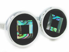 Abalone & Onyx Cuff Links cufflinks # C-121