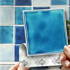 18 Blue Stick On Wall Tile Stickers Transfers For Kitchens Bathrooms