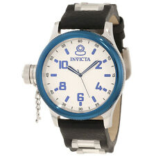 New Men's Invicta 10475 Russian Diver Swiss Silver Dial Leather Strap Watch