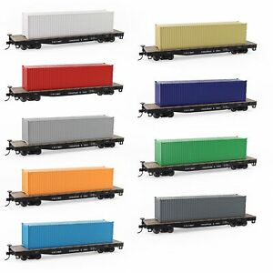 3pcs HO Scale 40ft 1:87 Shipping Container Undecorated Cargo Box Ribbed Side