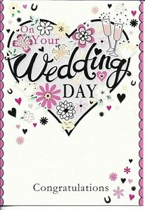 """ON YOUR WEDDING DAY GREETING CARD 7""""X5"""" HEART, FLOWERS, GLASSES FREE P&P"""
