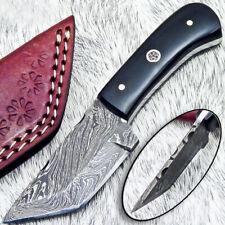 """NEW CUSTOM HANDMADE DAMASCUS 4.25"""" MINI HUNTING KNIFE BULL HORN HANDLE - UT-3641"""