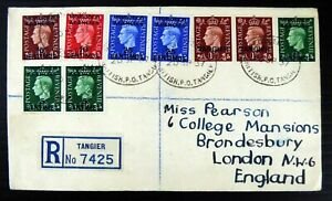 GB Morocco Agencies 1937 G.VI - 9 Stamps on Registered Cover to England DF490