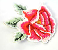 CAMILLIA ROSE PINK FLOWER 6cm Embroidered Iron Sew On Cloth Patch Badge APPLIQUE
