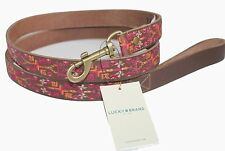 Lucky Brand - O/S - NWT - 5' Aztec Embroidered Brown Leather Pet Dog Leash