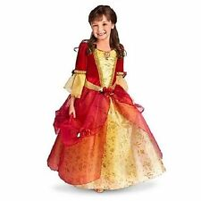 NWT Disney Store XS 4 4T Red & Yellow Belle Holiday Gown Costume Dress