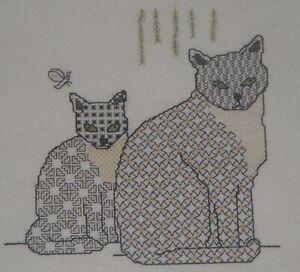 TWILLEYS OF STAMFORD CROSS STITCH KIT BLACKWORK CATS