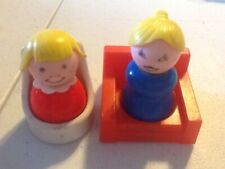 Vintage Samsonite Chair Toys Little People figures Fisher Price Girl