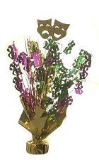 "2 Mardi Gras balloon weights 15"" tall metallic gold green and purple"