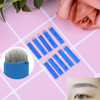 100Pcs Microblading Eyebrow Blades Shading Needles Tattoo Curved Manual 18U CNAB