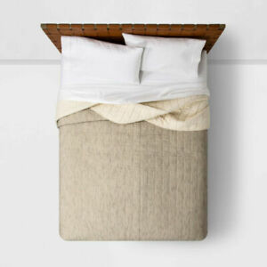 Opalhouse Twin Textured Stripe Quilt, Neutral/Black (New with Defects/NWOT/NOB)