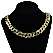 "Hip Hop Choker Chain Men 20"" In Cuban Gold Finish Full Stone Bling 15MM Necklace"