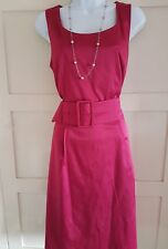 Beautiful H & M Fuchsia Silky Womens Dress Body Cone Big Belt Details Size 12