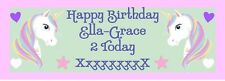 Unicorn PERSONALISED Birthday Banner - pack of 2 Girl - Add Name and Age