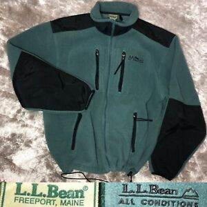 Vintage 1990s L.L Bean All Conditions Outdoors Green Fleece Soft Shell Jacket XL