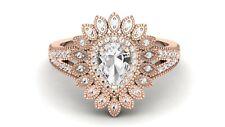 AAA Natural White Topaz Wedding Ring, Moissanite Bridal Ring For Anniversary