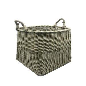 JVL Antiques Wash Square Log Basket with Loop Handles, 44 x 44 x 44 cm