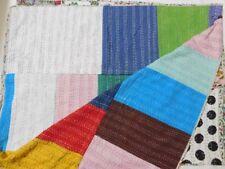 Multi Patchwork Handmade Kantha Quilt Queen Size Cotton Blanket Bedspread Gudri