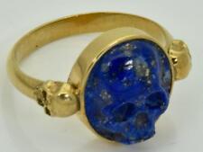 Imperial Russian Doctors 14k gold&Lapis-Lazuli Cameo Memento Mori Skull ring