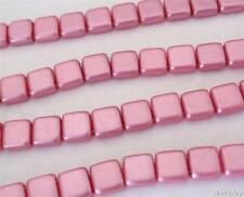 25 6x6x3mm CzechMates Two Hole Tile Beads: Pearl Coat - Flamingo