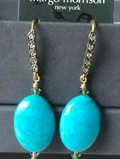 margo morrison oval turquoise white sapphire 18KT/SS drop earrings $170!