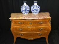 Antique French Louis XVI Style Bombe Marquetry Marble Top Credenza Canted Chest