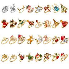 Adjustable Festive Gold Christmas Ring Santa Claus Deer Snowman Womens Jewelry