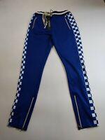 Men 100% authentic hudson track pants size large blue checkers