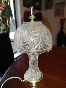 "Vintage Mid Century Leaded Crystal Glass Boudoir Vanity Bedside Lamp Light 12½"""
