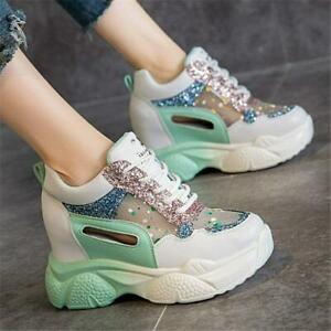 Women Breathable Platform Wedge High Heel Summer Sandals Glitter Fashion Sneaker