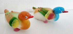 VINTAGE PEKING GLASS DUCK FIGURINE - MULTICOLORED SOLID GLASS BIRD CHINESE