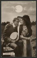 """I Should Say So"" Romancing Under The Moon - c1911 Photo Postcard"