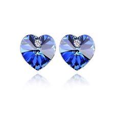 Austrian Crystal Stone Elements Dark Blue Heart Shaped Stud Earrings UK Seller