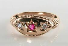 LUSH 9CT 9K ROSE GOLD INDIAN RUBY & DIAMOND ART DECO INS GYPSY BOAT RING FREE Sz