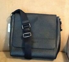 "NWT COACH HOUSTON MEN""S LEATHER MAP/MESSENGER BAG IN BLACK -  F68015"
