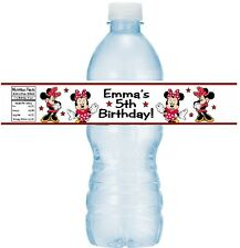 12 Minnie Mouse Red & Black Birthday Party Water Bottle Stickers Labels Classic