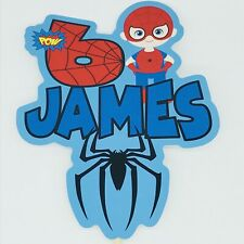 Spiderman PERSONALISED Cake Topper.  Lolly Bag Party Supplies Superhero Avengers