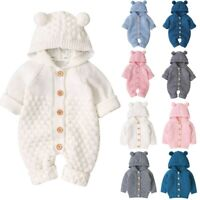 Infant Baby Girls Boys Warm Cardigan Jackets Knit Outwear Sweater Romper Coats A