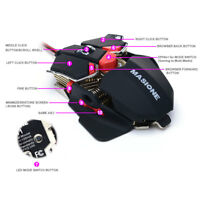 Gaming Mouse 10 Buttons LED USB Optical 1200-1600-2400-4800-DPI PC Mice Wired