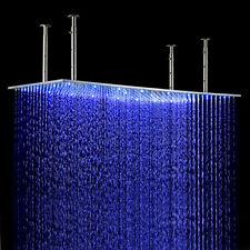 40*80 LED Chrom Kopfbrause Rechteck Regenbrause Brausekopf Duschkopf Edelstahl