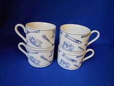 "Vintage Fitz & Floyd COLONIAL BLUE (4) coffee tea mugs cups 2 1/4"""
