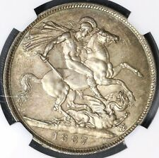 1887 NGC MS 63 Sliver Crown Victoria GREAT BRITAIN Coin (18021502C)