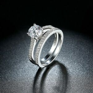 2 Piece Engagement Wedding Ring Set In 925 Sterling Silver Plated SIZE L-U UK