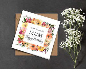 BIRTHDAY card MUM Mam Nan any name pink yellow peach flowers floral frame rustic