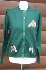 1950's Brownie Knitting Mills College Board Green Wool Equestrian Horse Cardigan